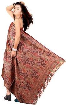 Indigocart Paisley Design Kashmiri Woolen Shawl 143 Wool Self Design Women's Shawl