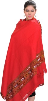 Exotic India With Kinnauri Woven Border Wool Solid Women's Shawl