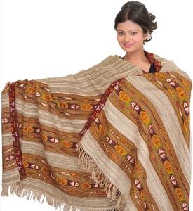 Exotic India With Woven Kinnauri Border Wool Striped Women's Shawl