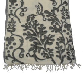 Shawls Of India Wool Floral Print, Self Design Women's Shawl