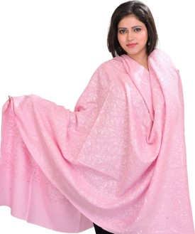 Exotic India With Paisleys All-Over Wool Embroidered Women's Shawl