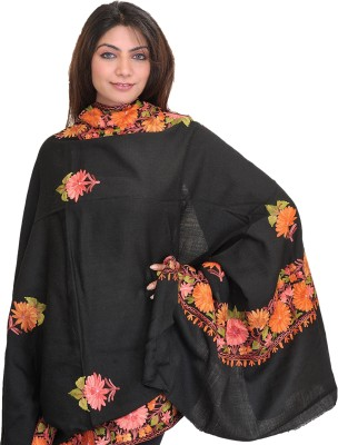 Exotic India With Paisleys All Over Wool Embroidered Women 39 S Shawl Online Flipkart Fashion