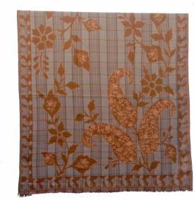 Shawls Of India Check Aari Pw Musturd Wool, Polyester Floral Print Women's Shawl