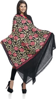 Aapno Rajasthan Black Rich Embroidered Woolen Shawl With Floral Design Wool Embroidered Women's Shawl