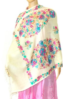 Indian Fashion Guru Designer Wool Embroidered Women's Shawl - SWLE4YANHAN3GBKX