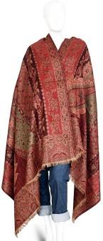 Indigocart Paisley Design Colorful Pure Kashmiri Warm Shawl 102 Wool Self Design Women's Shawl