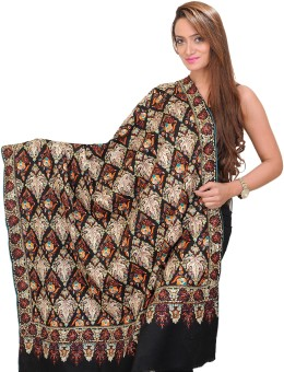 Exotic India With Chinar Leaves All-Over Pashmina Embroidered Women's Shawl
