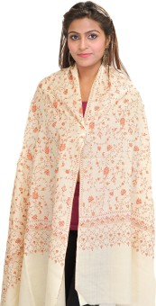 Exotic India With Flowers All-Over Wool Embroidered Women's Shawl