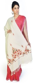 Home India Floral Design Cream Color Kashmiri Cashmilon Shawl 193 Wool Self Design Women's Shawl