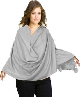 Super Drool Grey Silk Pashmina With Fur Pom Poms Pashmina Solid Women's Shawl