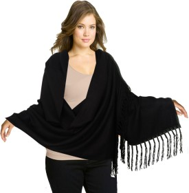 Super Drool Black Silk Pashmina With Fancy Leather Fringes Pashmina Solid Women's Shawl
