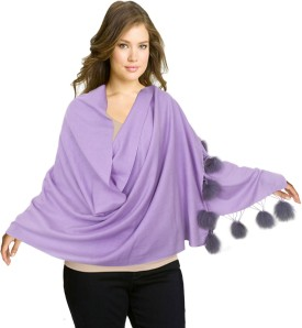 Super Drool Silk Pashmina With Fur Pom Poms Pashmina Solid Women's Shawl