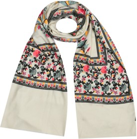Per Te Solo BUD STOLES WHITE/BLACK Viscose Printed Women's Shawl