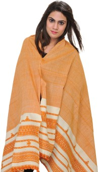 Exotic India With Thread Weave On Border Wool Solid Women's Shawl
