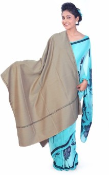 Home India Plain Style Designer Thread Border Cashmilon Shawl 153 Wool Self Design Women's Shawl