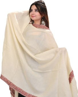 Exotic India With Needle Embroidery On Border Wool Solid Women's Shawl