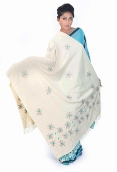Home India Blue Floral Style Cream Color Kashmiri Wool Shawl 163 Wool Self Design Women's Shawl