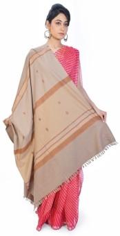 Home India Coffee Brown Stripe N Booti Designer Woolen Shawl 155 Wool Self Design Women's Shawl