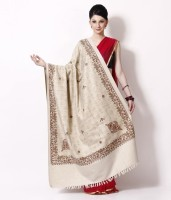 Kashmir Handlooms Wool Floral Print, Solid Women's Shawl