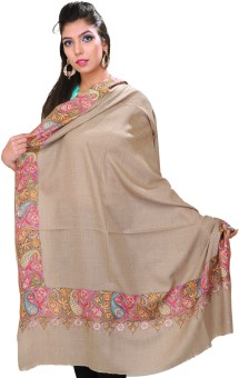 Exotic India With Hand Embroidered Paisleys On Border Pashmina Solid Women's Shawl