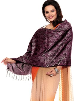 TSG Breeze Purple Polyester Self Design Women's Shawl