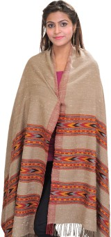 Exotic India With Kinnauri Woven Triple Border Wool Solid Women's Shawl