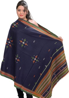 Exotic India With Bootis And Mirrors Wool Embroidered Women's Shawl - SWLE92Z5PKRF3PTQ