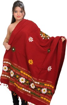 Exotic India With Elephants And Mirrors Wool Embroidered Women's Shawl