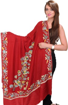 Exotic India With Flowers In Multi-Colored Thread Wool Embroidered Women's Shawl