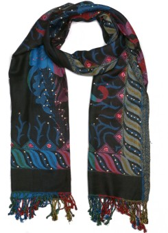 Per Te Solo ZEBRA STOLES BLACK/BLUE Viscose Self Design Women's Shawl