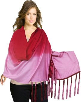 Super Drool Red And Pink Ombre Silk Pashmina With Fancy Leather Fringes Pashmina Solid Women's Shawl