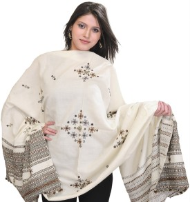 Exotic India With Bootis And Mirrors Wool Embroidered Women's Shawl - SWLE92Z4AK9UJRYJ