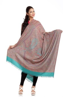 Aapno Rajasthan Teal Blue Jacquard Pashmina, Wool Embroidered Women's Shawl