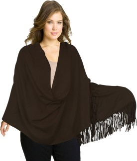 Super Drool Brown Silk Pashmina With Leather Fringes Pashmina Solid Women's Shawl