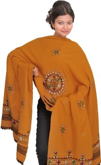 Exotic India With Chakra And Mirrors Wool Embroidered Women's Shawl