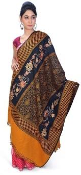 Home India Black N Mustard Paisley Pattern Kashmeeri Shawl 202 Wool Self Design Women's Shawl