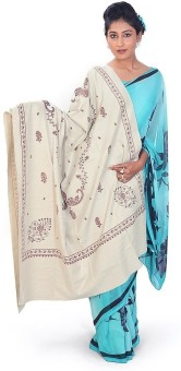 Home India Pure Kashmiri Floral Design Cream Cashmilon Shawl 173 Wool Self Design Women's Shawl