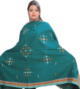 Exotic India With Bootis And Mirrors Wool Embroidered Women's Shawl - SWLE92Z4ZGDZCYFZ
