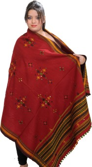 Exotic India With Bootis And Mirrors Wool Embroidered Women's Shawl