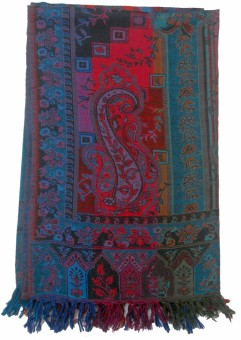 Shawls Of India Ns-Shawl Multi Wool Floral Print Women's Shawl