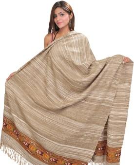 Exotic India With Kinnauri Woven Border Wool Striped Women's Shawl