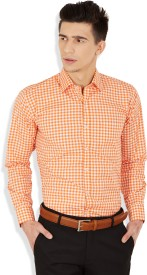Arihant Men's Checkered Formal Orange Shirt