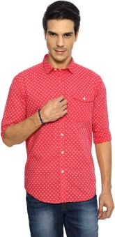 SF Jeans By Pantaloons Men's Printed Formal Orange Shirt