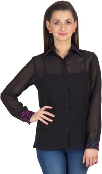 Trend Arrest Black Sheer Women's Solid Casual Shirt