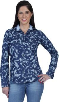 Fast N Fashion Zoe Women's Printed Casual Denim Shirt