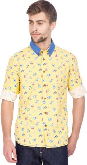 Slub By INMARK Men's Printed Casual Yellow Shirt
