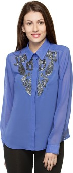 Oxolloxo Stylish Beaded Women's Solid Casual Shirt