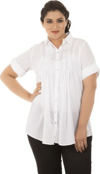 LastInch White Cotton Women's Solid Casual Shirt