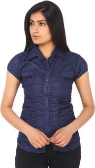 Gudluk Dark Blue Women's Solid Casual Denim Shirt