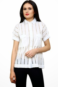 Rena Love Ivory Women's Self Design Casual Shirt